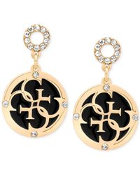 Guess | Gold-tone With Clear Crystal And Circle Black Enamel Drop Earrings | Lyst