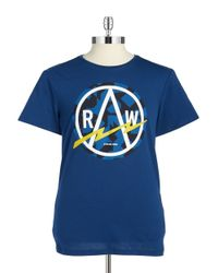 G-Star RAW - Blue Camoflauge Logo Tee for Men - Lyst