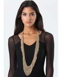 Bebe - Metallic Allover Fringe Necklace - Lyst