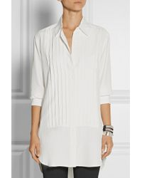 Title A - White Pleated Washed-Silk Shirt - Lyst