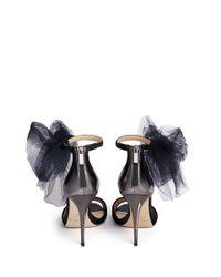 Jimmy Choo - Blue 'Lilyth 100' Tulle Bow Velvet Sandals - Lyst