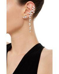 Ryan Storer | White Rhodium Plated Swarovski Crystal Drop Ear Cuff With Stud | Lyst