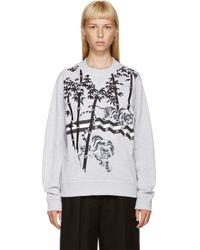 KENZO - Gray Grey Embroidered Bamboo Tiger Sweatshirt - Lyst