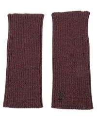 Maison Michel - Red Ribbed Fingerless Gloves - Lyst