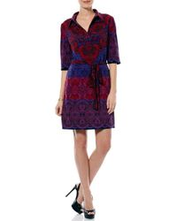 Laundry by Shelli Segal | Print Collared Jersey Shirtdress | Lyst