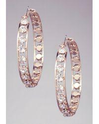 Bebe - Metallic Crystal Wrapped Hoops - Lyst
