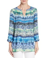 Chaus New York - Multicolor Printed Roll-tab Sleeve Top - Lyst