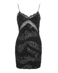 TOPSHOP | Black Lace Insert Sequin Bodycon Dress | Lyst