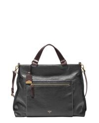 Fossil | Black Vickery Leather Cross-Body Bag | Lyst