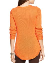 Lauren by Ralph Lauren | Orange Petite Crewneck Sweater | Lyst