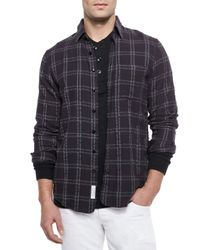 Rag & Bone - Black Placket Plaid Shirt for Men - Lyst