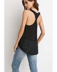 Forever 21 - Black Netted Mesh Panel Tank - Lyst