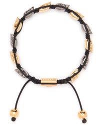 Nialaya - Metallic Rhodium-plated Skull Bracelet for Men - Lyst