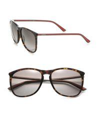 Gucci - Black 57mm Square Sunglasses - Lyst