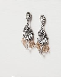 Zara | Metallic Long Crystal Earrings | Lyst