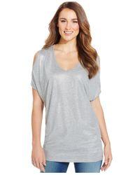 DKNY | Gray Shoulder-cutout Metallic Top | Lyst