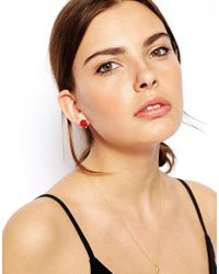 ASOS - Red Rose and Faux Pearl Stud Earrings - Lyst
