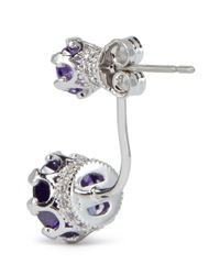 CZ by Kenneth Jay Lane | Purple Crown Setting Brilliant Cut Cubic Zirconia Earrings | Lyst