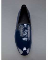 Alexander McQueen | Blue Skull Detail Slipper for Men | Lyst