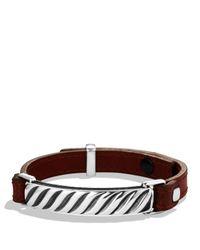 David Yurman | Metallic Modern Cable Id Bracelet In Camel Leather for Men | Lyst