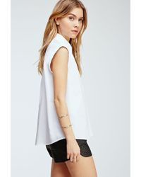 Forever 21 - White Rolled-sleeve Collared Shirt - Lyst
