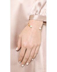Tory Burch - Metallic Glass Pearl Cuff Bracelet - Ivory/Shiny Gold - Lyst