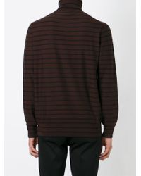 Paul Smith - Brown Striped Roll Neck Sweater for Men - Lyst