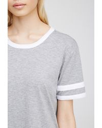 Forever 21 | Gray Varsity-striped Heathered Tee You've Been Added To The Waitlist | Lyst