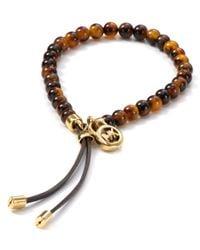 Michael Kors - Metallic Michael Tortoise Shell Beaded Bracelet - Lyst