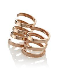 Aamaya By Priyanka | Metallic Rose Gold Twist Ring Set | Lyst