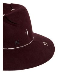Maison Michel | Red 'virginie' Patchwork Stitch Furfelt Hat for Men | Lyst