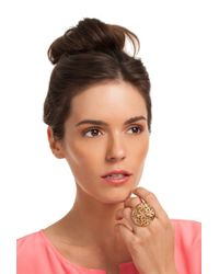 Trina Turk - Metallic Domed Flower Cocktail Ring - Lyst