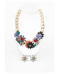 Missguided | Multicolor Jazmine Large Floral Detail Chain Necklace and Earring Set Multi | Lyst
