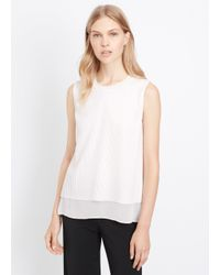VINCE | White Lattice Overlay Sleeveless Blouse | Lyst