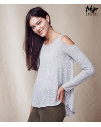 Tokyo Darling | Gray Long Sleeve Sheer Knit Cold-shoulder Top | Lyst
