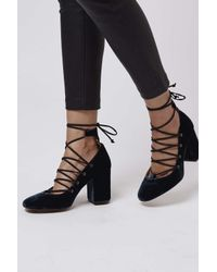 TOPSHOP - Blue Gold Round Toe Ghillie Shoes - Lyst