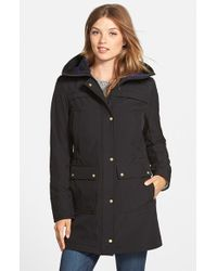 Vince Camuto Black Trapunto Detail Hooded Soft Shell Jacket