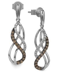 Le Vian | White And Chocolate Diamond Swirl Earrings In 14K White Gold (1/3 Ct. T.W.) | Lyst