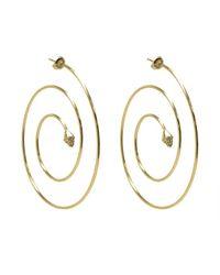 Noir Jewelry | Metallic Cindy Spiral Hoop Pave Pyramid Earrings | Lyst