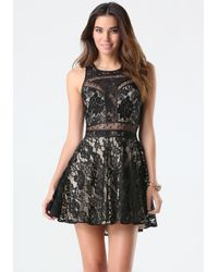 Bebe | Black Mix Media Lace Dress | Lyst