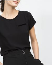 Zara | Black Velvet Pocket T-shirt | Lyst