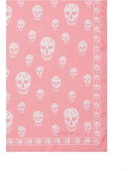 Alexander McQueen | Pink Classic Skull Silk Chiffon Scarf | Lyst