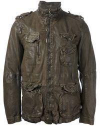 Neil Barrett - Green Distressed Leather Jacket for Men - Lyst