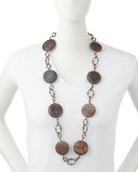 Armenta - Metallic Agate & Diamond Link Station Necklace - Lyst