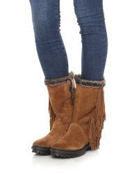 Sam Edelman - Brown Tilden Faux Fur Lined Fringe Boots - Black - Lyst