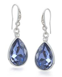 Carolee | Gray Silvertone And Royal Blue Teardrop Earrings | Lyst