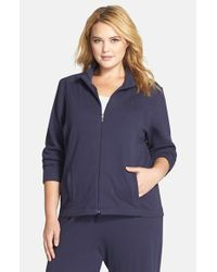 Lauren by Ralph Lauren | Blue Zip Front Lounge Jacket | Lyst