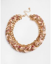 Pieces | Metallic Dolly Fabric Braid Necklace | Lyst