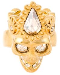 Alexander McQueen | Metallic Queen Skull Cocktail Ring | Lyst