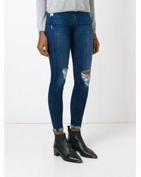 7 For All Mankind | Blue Distressed Jeans | Lyst